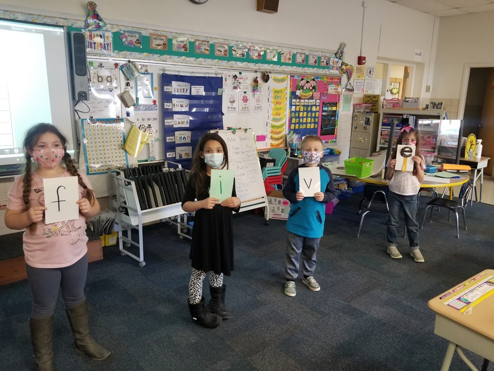 Mrs. Stacy's 1st graders practicing Magic E
